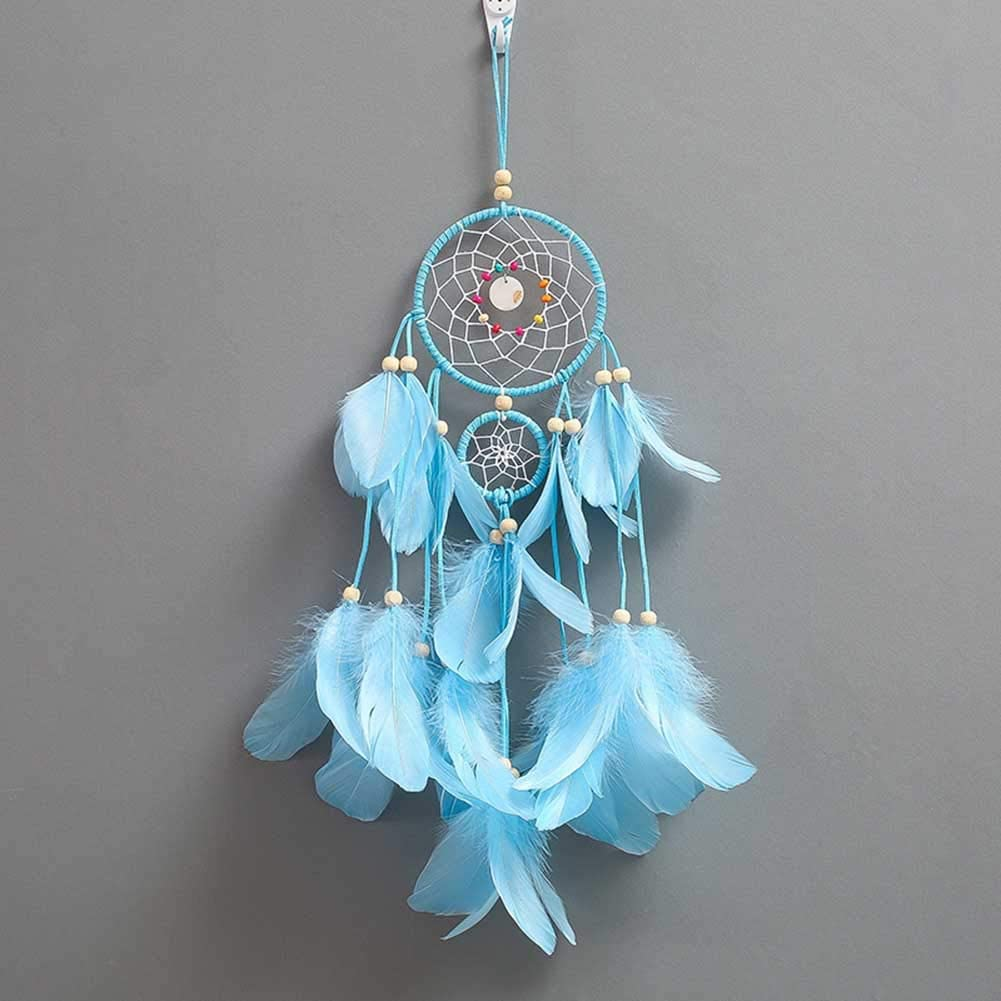 Blue IRICEYE Home Decoration,Handmade Feather Ring Beads Dream Catcher Wall Hanging Decoration Ornament Gift