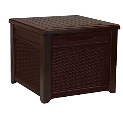 Cube Storage Bench Rattan Resin Patio Side Table 55 Gallon Lidded Box  Natural Brown Square Seat