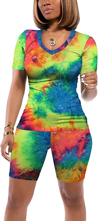 Glanzition Two Piece Outfits for Women Summer Tie Dye Short Set