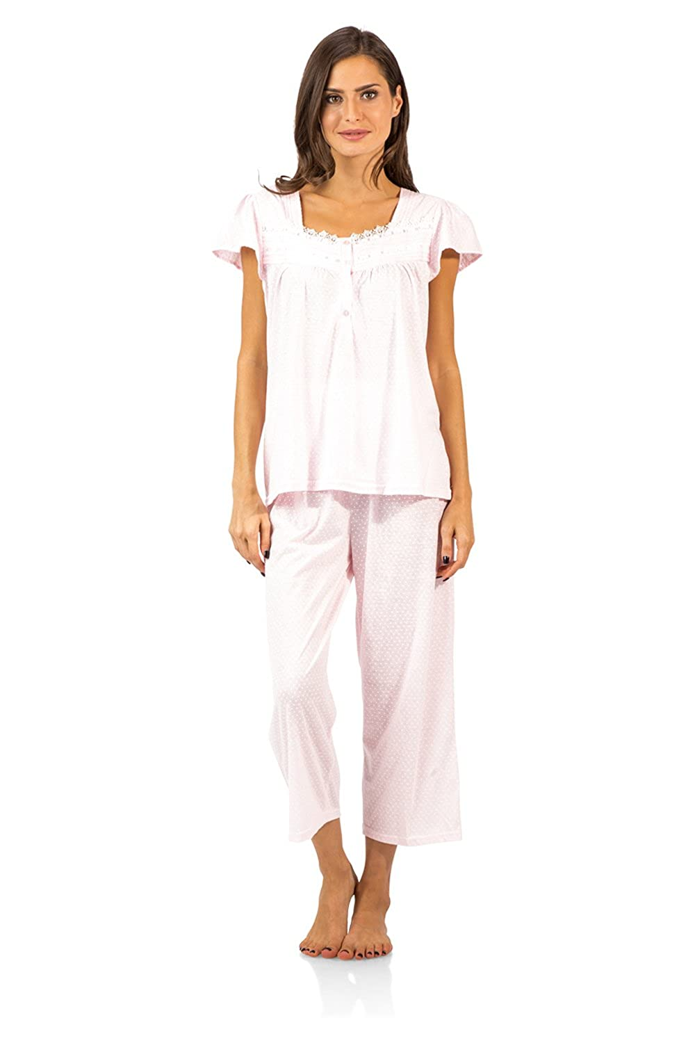 Casual Nights Women's Pintucked Capri Pajama Set Short Sleeve Pj' s