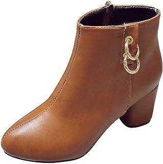 Bottes pour Dames d'hiver, Honestyi Femmes Rondes Orteils Talons Hauts Rond en Cuir siège Haut Talon Chaussures de Couleur Unie Daim Bottes Chelsea avec Zipper