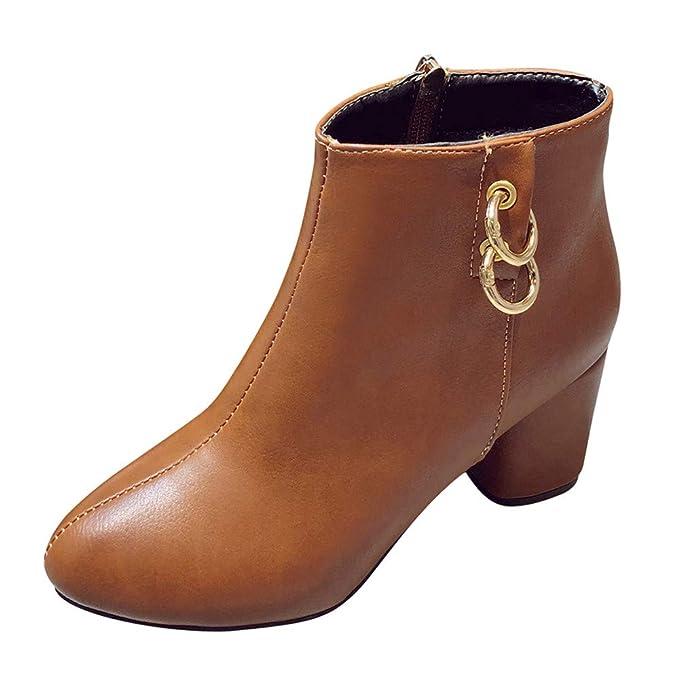 MYMYG Damen Stiefeletten Martain Boot Frauen Runde Spitze High Heel Schuhe  einfarbig Wildleder Stiefel Zipper Boot c367828c40