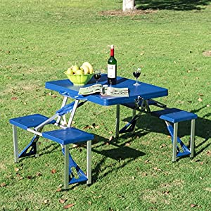 Outsunny Portable Lightweight Folding Suitcase Picnic Table w/4 Built-In Chairs, Blue