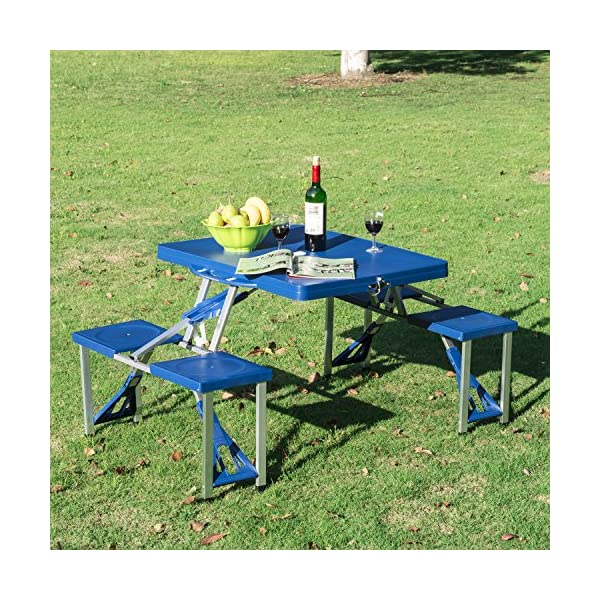 Fabulous Outsunny Portable Lightweight Folding Suitcase Picnic Table Bralicious Painted Fabric Chair Ideas Braliciousco