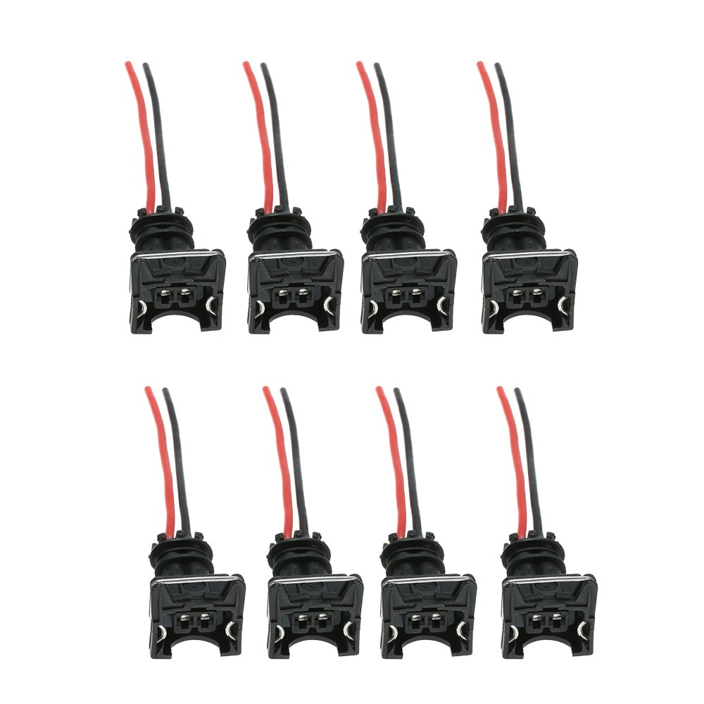 Festnight Fuel Injector Wiring Connector 8pcs Fuel Injector Connector Wiring Plugs Clips Fit EV1 OBD1 Pigtail Cut /& Splice