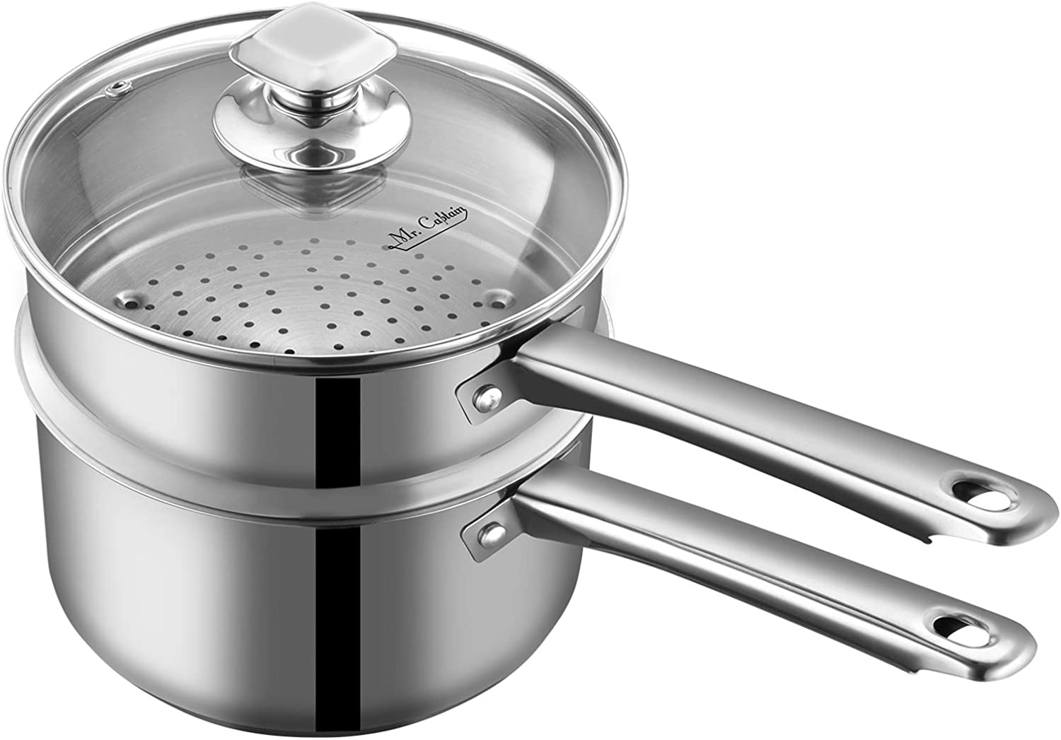 Mr Captain Steamer & Nonstick Saucepan(3 Quart)With Lid, 18/10 Stainless Steel Sauce Pan, Perfect for All Stovetops Small Pot Induction Compatible Dishwasher/Oven Safe