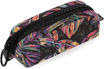 Bolso grande con cremallera Oficina Bolso grande Bolígrafo Escuela Palmeras tropicales Estuche de lápices Hippie colorido: Amazon.es: Oficina y papelería