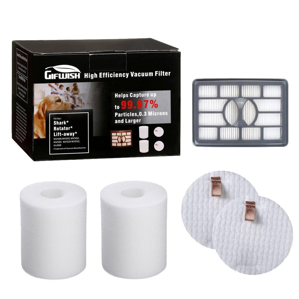 Gifwish Vacuum Filters for Shark Rotator Pro Lift-away NV500 NV501 NV502 NV503 NV505 NV510 NV520 NV552 UV560 Cleaner XHF500 XFF500, 99.97% Grade Replacement HEPA Filter Kit with 2 Foam & Felt
