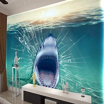 Nuovo Stampato Pesce Squalo Sott Acqua Broken Glass Personalizzato Art Canvas Visualizza Sfondi Living Room Bedroom Wall Decorazioni Per La Casa Dimensioni Circa 400x280 Cm Amazon It Fai Da Te