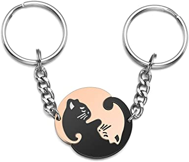 Yin Yang Key Chain Custom Any Name Free Engraved keychain key ring Personalized