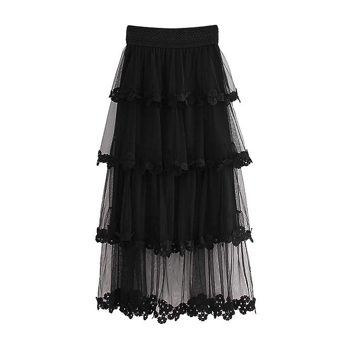 Amazon.com: Falda de tutú de malla con volantes de cintura ...
