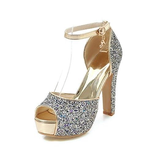 Glitter Plataforma Con Mujer Alto Zapatos Sandalias Tacón Coolulu LSpMqjUzGV