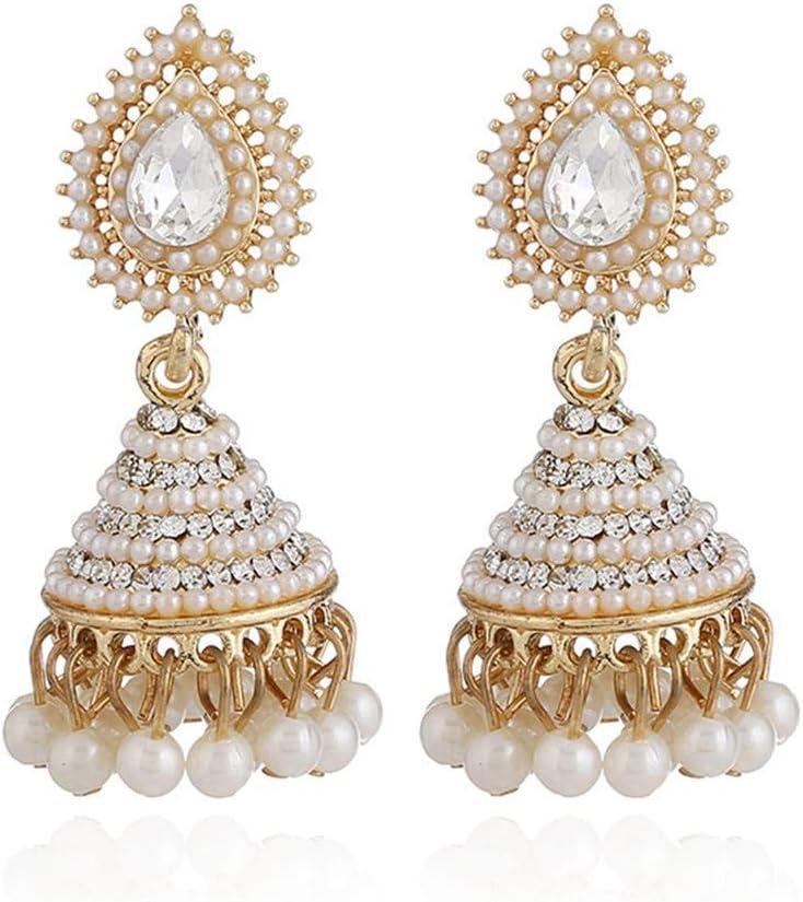 1 par de pendientes retro indios con forma de campana y perlas de cristal, pendientes colgantes de gota para mujeres y niñas, joyería para fiestas