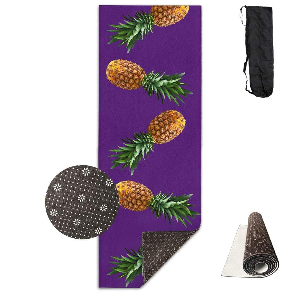 Bghnifs Pineapple Mellow -Purple Printed Design Yoga Mat Extra Thick Exercise & Fitness Mat Fit Yoga,Pilates,Core Exercises,Floor Exercises,Floor Exercises
