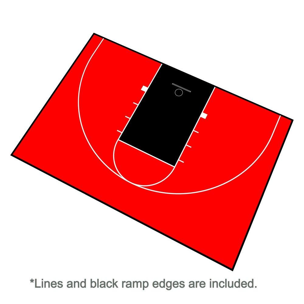 アウトドアバスケットボールフルコートキット44 Ft X 29 FT – 線とエッジIncluded – Made in the USA ブラック/レッド