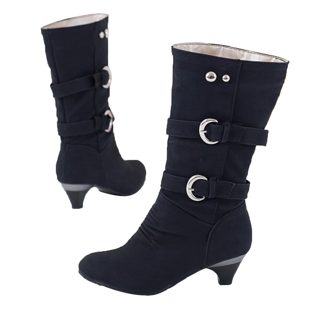5e52c93d993 Inornever Women s Autumn Round Toe Mid Calf Dress Boots Trendy Buckle  Straps Kitten Heel Knee High Boots Black 9 B (M) US