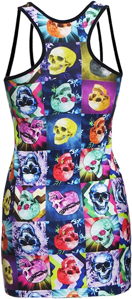 Multicoloured Psychedelic Skulls Floral Print Long Vest Top