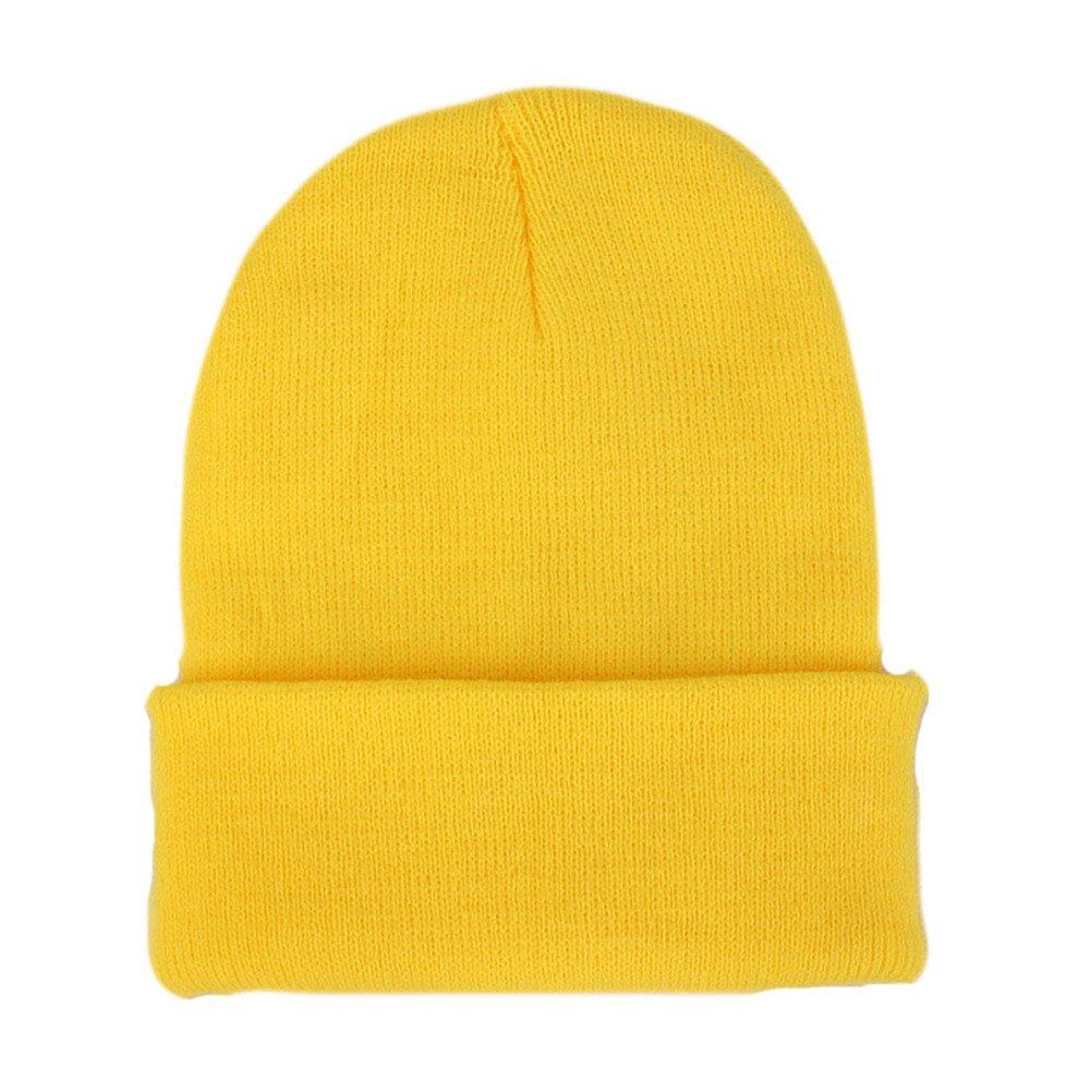 79fb23e341c5ea Amazon.com: CANCA Unisex Cuff Warm Winter Hat Knit Plain Skull Beanie  Toboggan Knit Hat/Cap (Light Yellow): Clothing