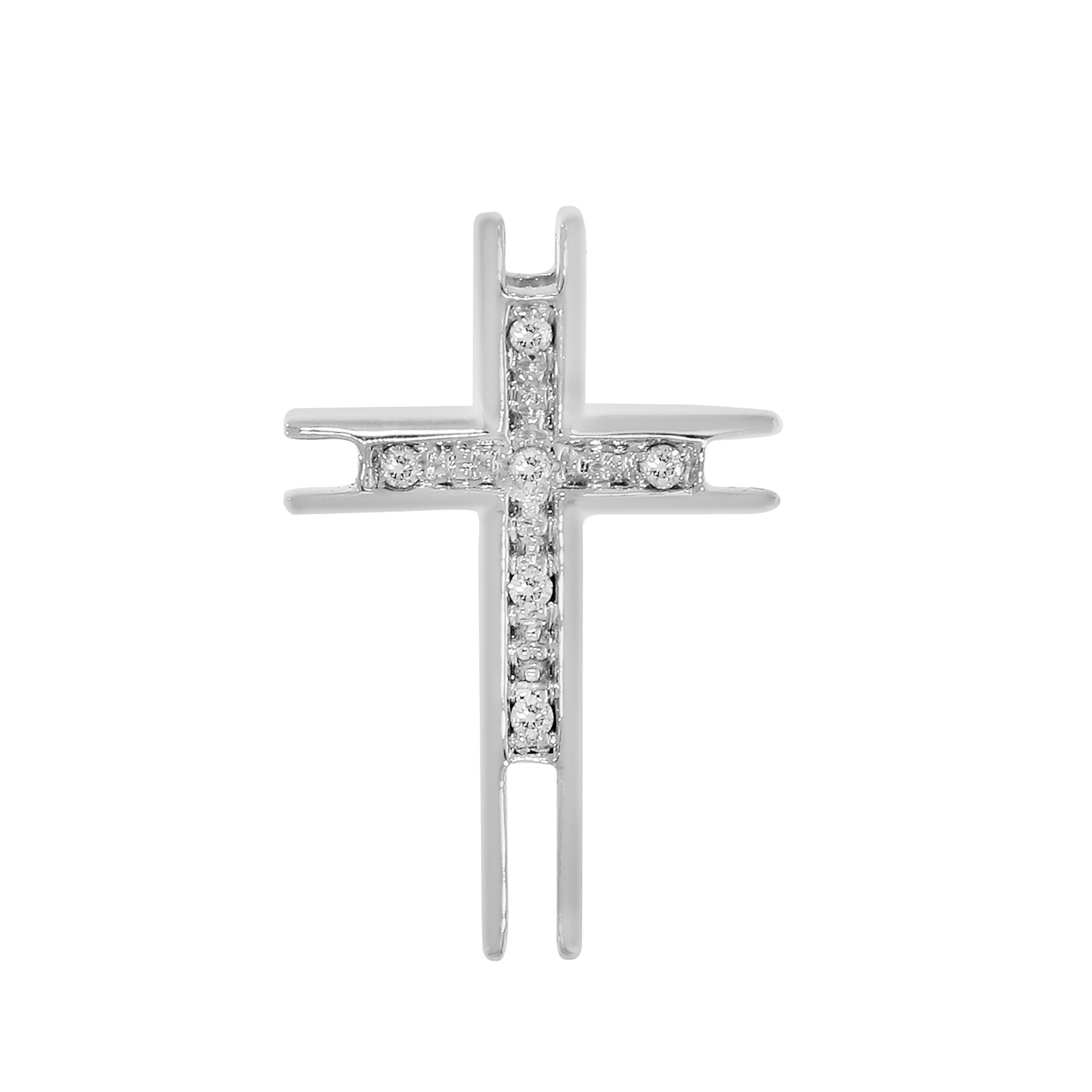 IGI-Certified 0.05 cttw 18k White Gold Round-Cut Natural Diamond Unisex Cross Pendant