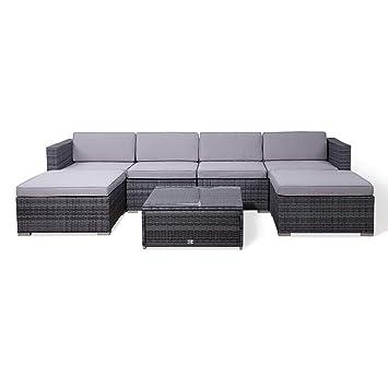 Relativ Amazon.de: SVITA Lugano Poly Rattan Lounge Garten-Set XXL Sofa-Set LA13