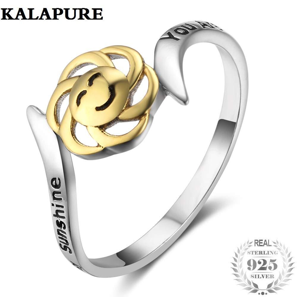 Kalapure 18K Gold 925 Sterling Silver Sunflower Ring You Are My Sunshine, My Only Sunshine'' My Only Sunshine''