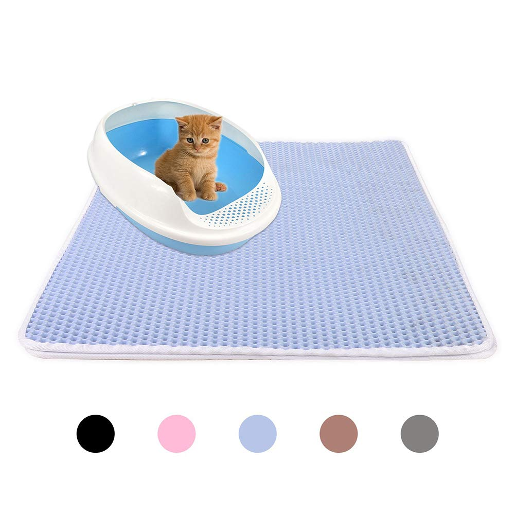 GPFDM Cat Litter Mat, Litter Box Rug Carpet, Honeycomb Double Layer, No Phthalate, Urine Waterproof, Easy Clean, Scatter Control, Litter Trapper Catcher, Washable,Blue,5575cm by GPFDM