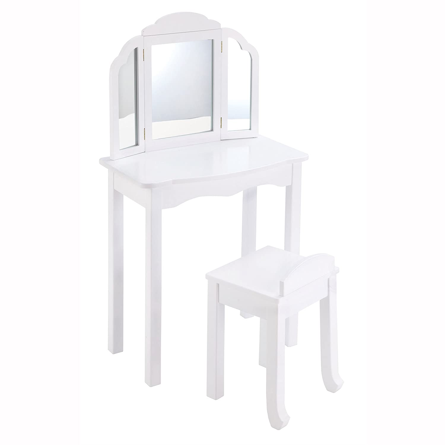 Amazon.com: Guidecraft White Expressions Wooden Vanity Table And Stool Set  With 3 Mirrors: Kids Room Furniture: Toys U0026 Games