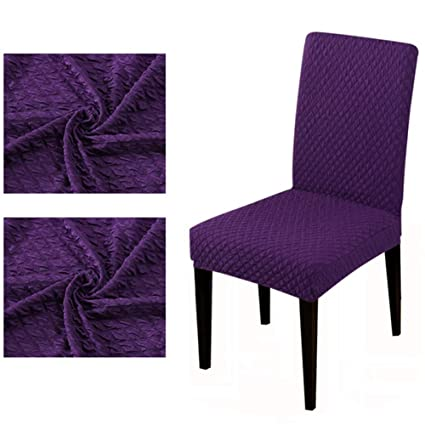 BERTERI 2PCS Purple Honeycomb Polar Fleece Fabric Chair Cover Slipcovers Stretch Removable Dining Seat Covers Hotel Banquet