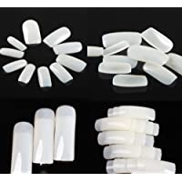 FOK Set Of 200Pc Professional/Personal Reusable French Long Acrylic False Fake Nails White Color DIY Decoration Artificial White Nailart Tip Accessory