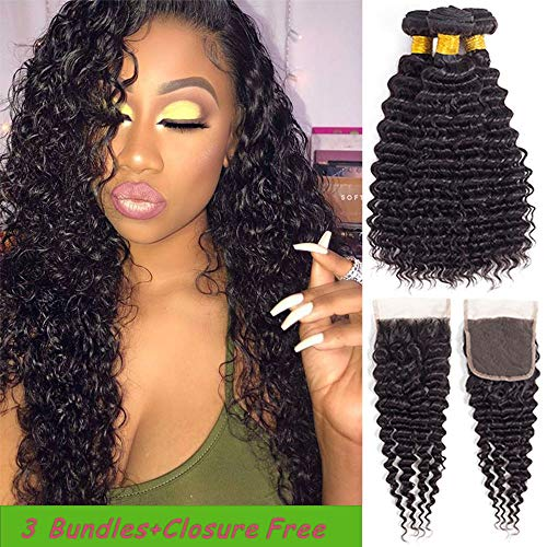 Brazilian Deep Wave 3 Bundles With Closure Natural Black 100% Unprocessed Virgin Brazilian Hair Deep Curly Hair Weave Human Hair Bundles Deep Wave(16 18 20+14)