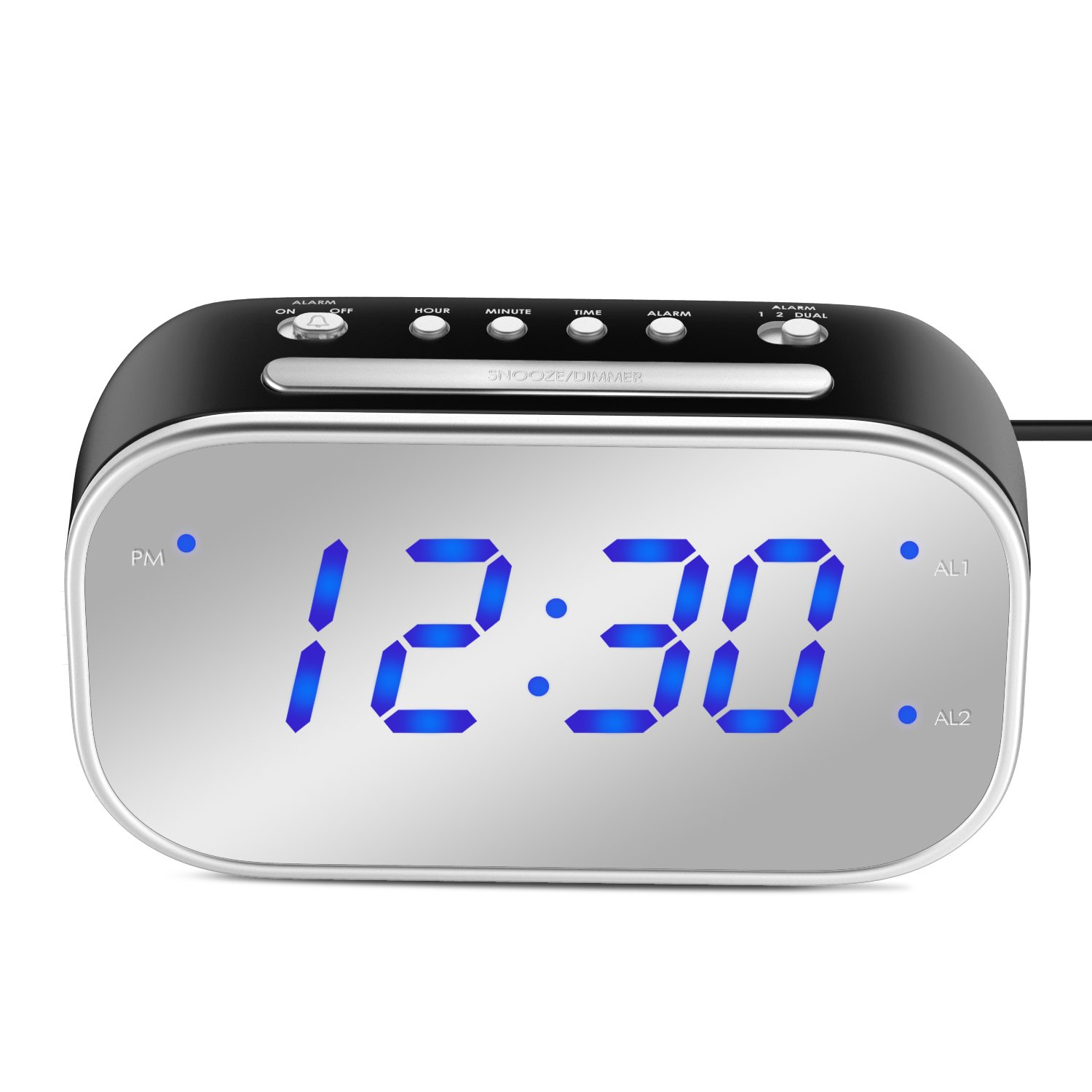 MoKo Mirror Alarm Clock, Large 1.4'' LED Display Table Desk Lamp Makeup Mirror Travel Clock for Office Bedroom Bathroom, Dual Alarm with Snooze, Dimmer Control, Backup Battery (Not Included) - BLACK by MoKo