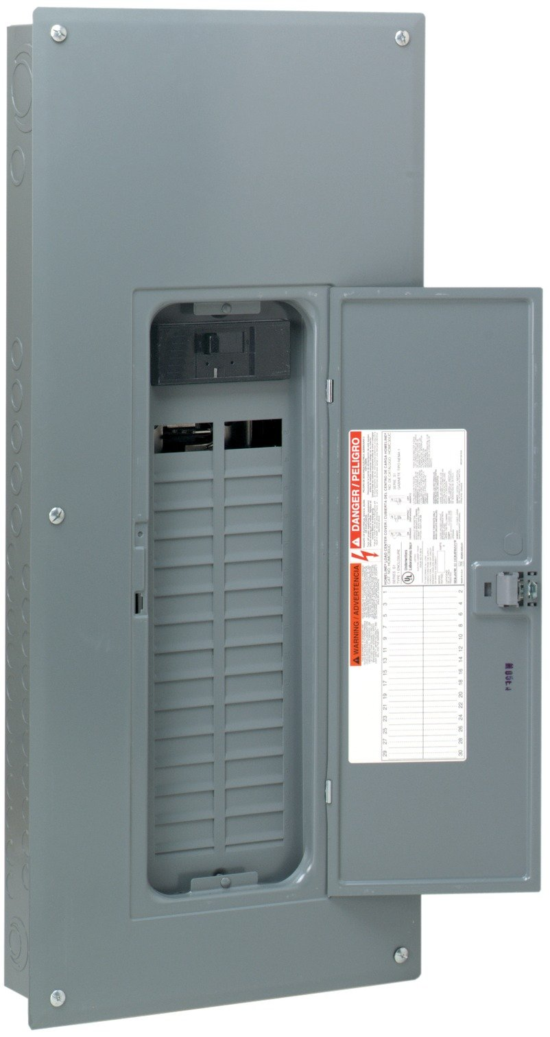 Square D by Schneider Electric HOM3060M200PC Homeline 200 Amp 30-Space 60-Circuit Indoor Main Circuit Breaker Load Center with Cover (Plug-on Neutral Ready),