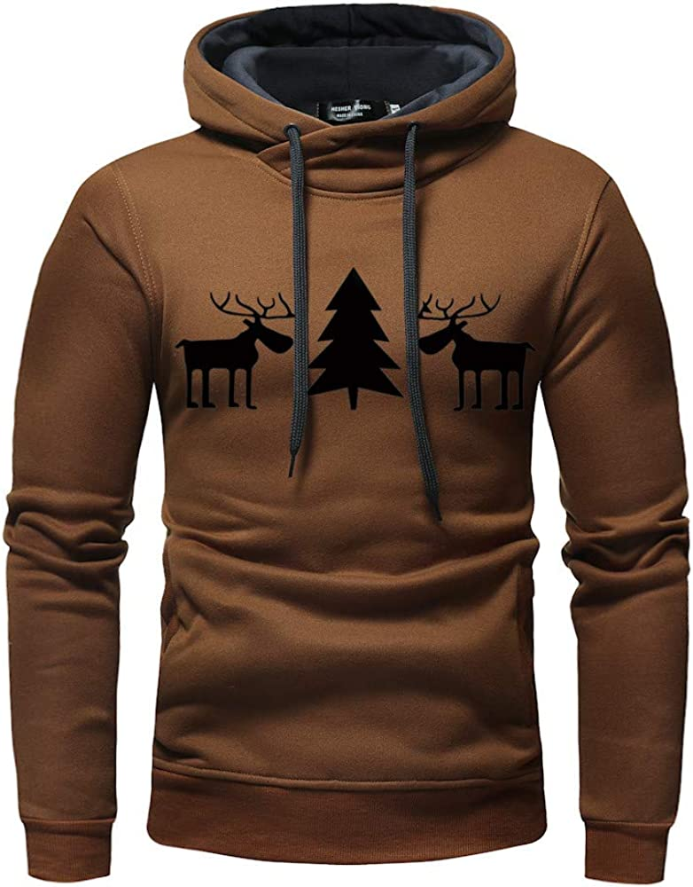 GoodLock Mens Fashion Pullover Hooded Tops Casual Autumn Winter Christmas Printed Sweatshirt Outwear Blouses