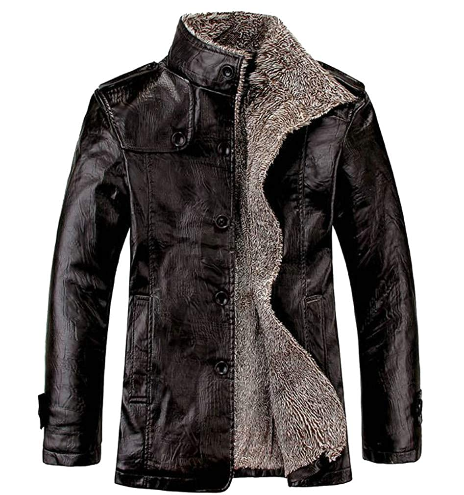 Macondoo Mens Faux Leather Button Stand Collar Faux Fur Lined Fleece Jacket Anoraks Parka Coat