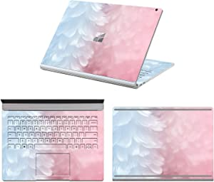 "MasiBloom 3 in 1 Laptop Sticker Decal for 13.5"" 13 inch Microsoft Surface Book 2015 Released Protective Cover Skin (for 13.5"" Surface Book (2015 Released), Decal- Feather)"