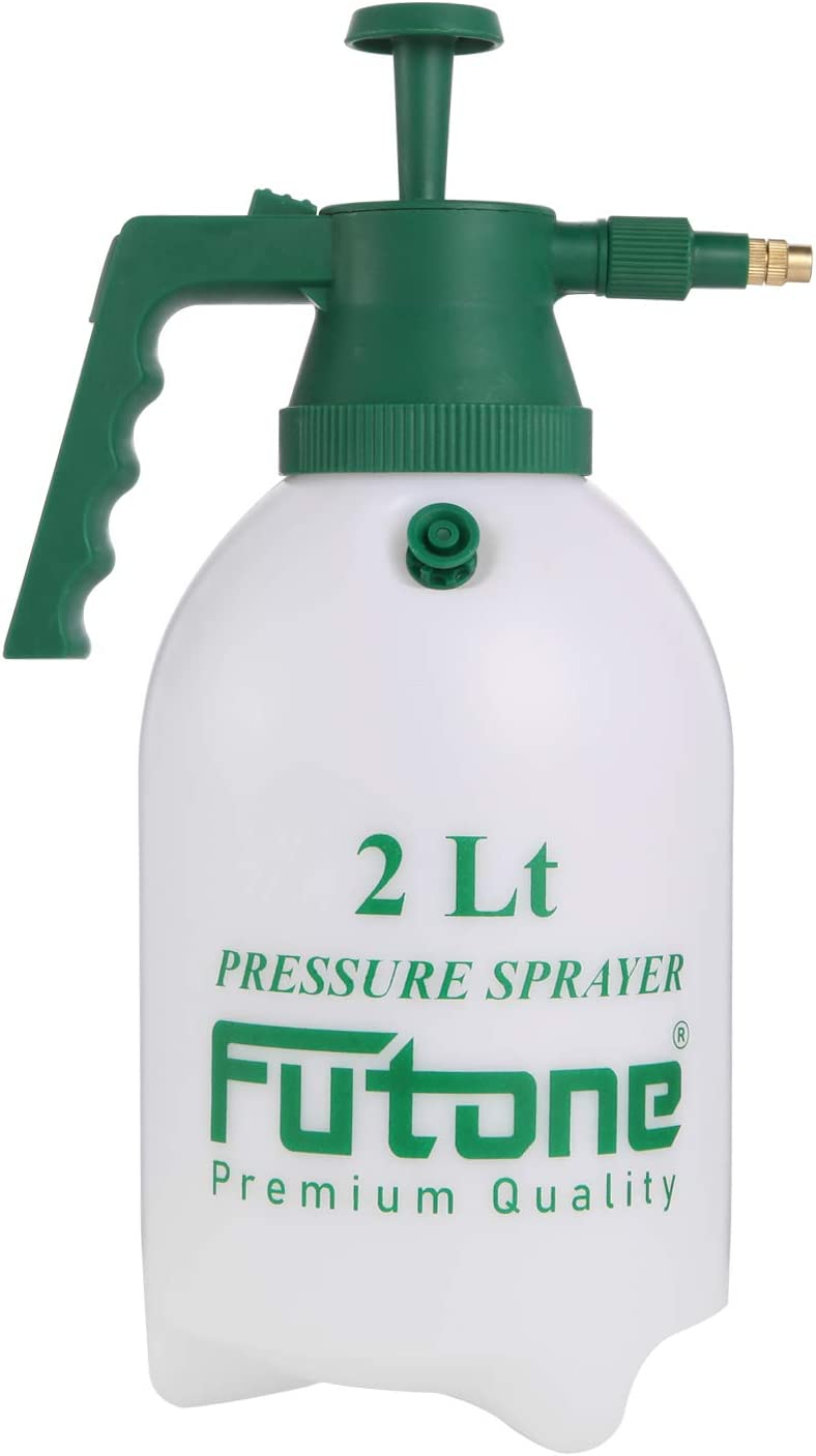 Futone 0.5 Gallon Hand Held Garden Sprayer Water Pump Pressure Sprayers for Lawn and Garden - (2.0L White)