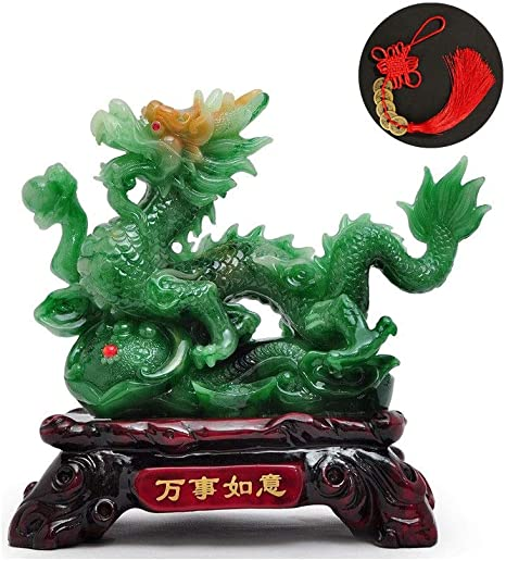 Chinese Dragon Figurine Statue Room Decoration Crafts Collectibles Red