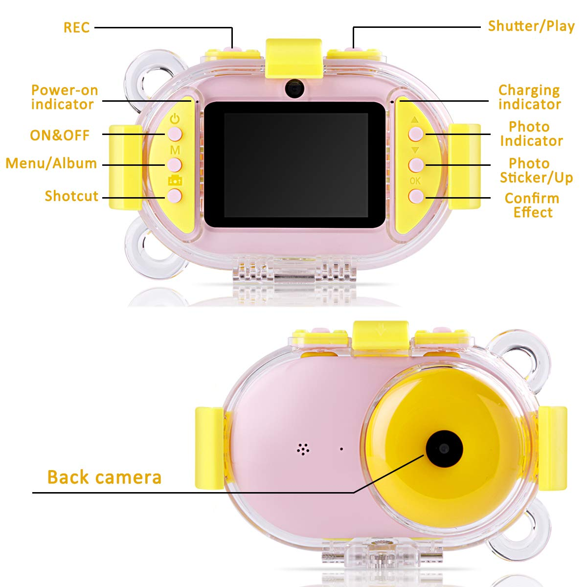 Kids Camera, OPOLEMIN Kids Waterproof Camera Kids Video Camera with Sound Playback Underwater Digital Camera Camcorderfor Kids with 16G Memory Card for Children's Day Birthday Trip Beach Swimming by OPOLEMIN (Image #2)