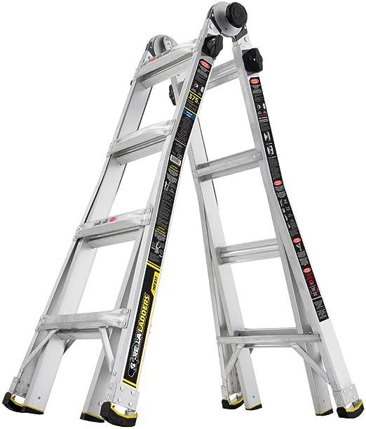 Gorilla escaleras 17 FT. Mpx multiposición escalera telescópica de aluminio con 375 libras. Capacidad de carga Tipo IAA deber calificación: Amazon.es: Bricolaje y herramientas