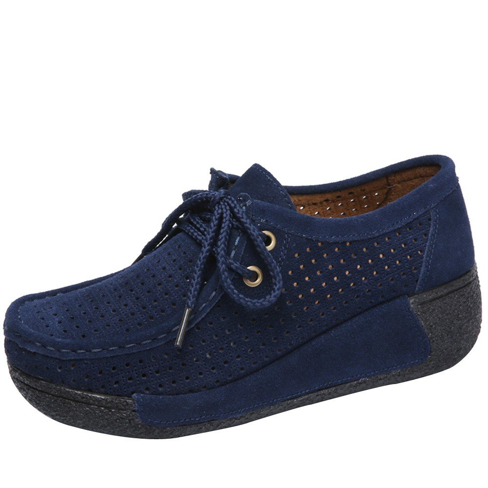 Shoes For Womens -Clearance Sale ,Farjing Women Hollow Round Head Flat Breathable Leisure Sports Shoes Shake Shoes(US:6,Dark Blue)