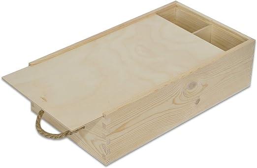 Creative Deco Caja Madera Vino | Tapa Deslizante y Cuerda | 2 ...