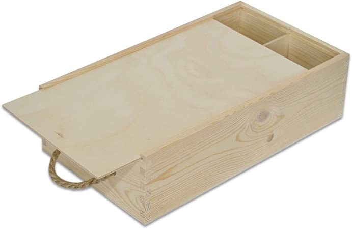 Creative Deco Caja Madera Vino | Tapa Deslizante y Cuerda | 2 Botellas | 35 x 21 x 11 cm | Perfecta para Regalo Decorar Decoupage Almacenamiento Decoración Manualidades: Amazon.es: Hogar