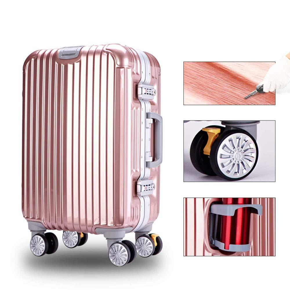 YD スーツケース トロリーケース - ABS + PC、大口径ブレーキホイール、クラムシェルカップホルダー、スタイリッシュな傷防止ブラッシュド隠しフック大容量スーツケース - 4色 /& (色 : ローズゴールド) B07MX66BWK ローズゴールド