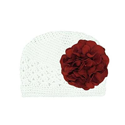 White Crochet Hat with Red Large Geraniums, Size: 12-18m