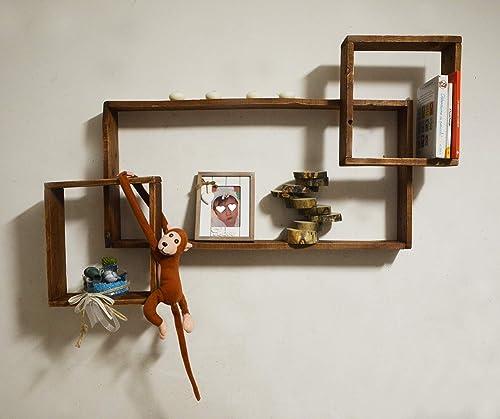 Estante flotante de madera maciza moderno, unidad de pared ...