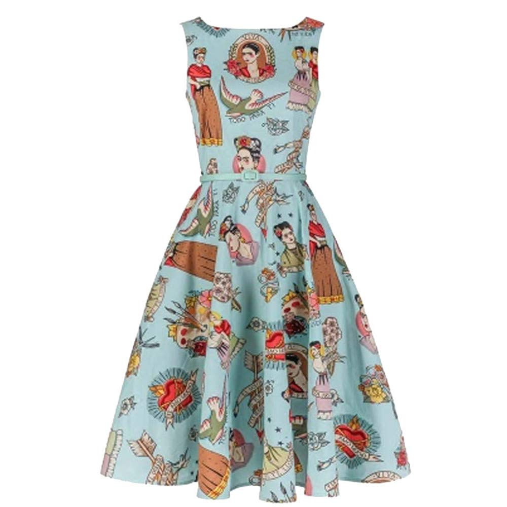 08c53e9bee MONMOIRA Frida Kahlo Summer Dress Women Summer New Printed Vintage Women  Dress Bodycon Ball Gown Dress Women at Amazon Women's Clothing store: