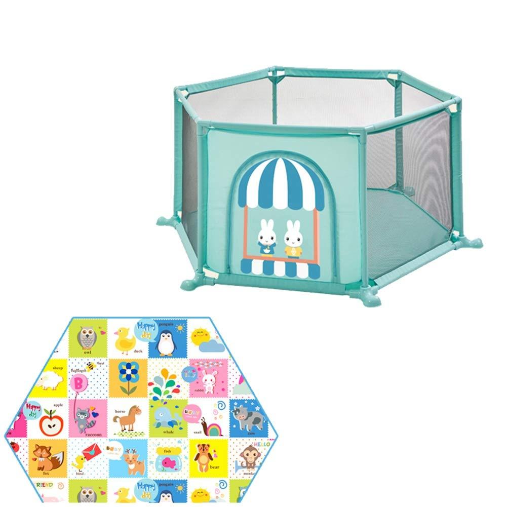 Bambini Recinto- Baby Box Play Yard House 6-Panel Game Fence Indoor Indoor Playground Con Cuscino Esagonale ERRU