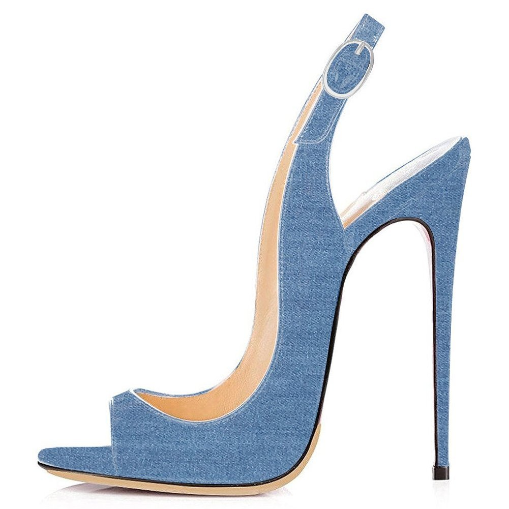 bluee Denim UMEXI Open Toe Slingbacks Ankle Strap High Heels Stiletto Pumps Wedding Party shoes for Women