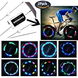 QANGEL Bike Wheel Lights,Waterproof Bike Spoke Lights Ultra Bright 14 LED Bicycle Wheel Lights,Safety Cool RGB Bike Tire Light for Kids Adults,30 Patterns Changes, Auto & Manual Dual Switch (2 Pack)