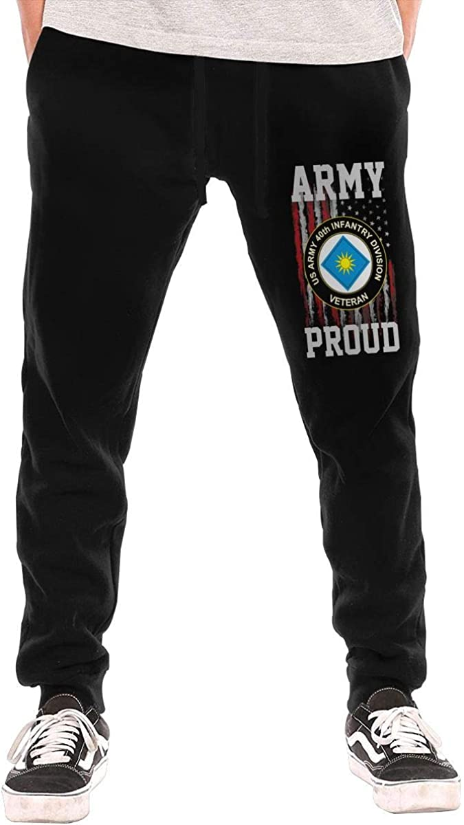 Proud US Army 40th Infantry Division Veteran Mens Sweatpants for Gym Training